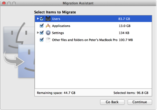 Image of Migration Assistant pane