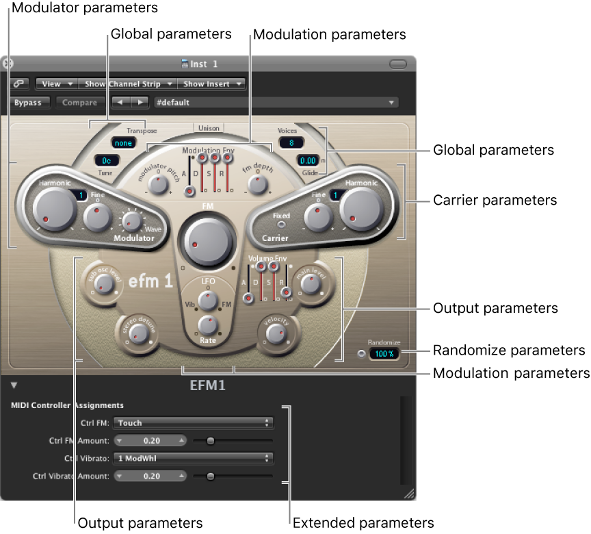 Figure. EFM1 window showing main interface areas.