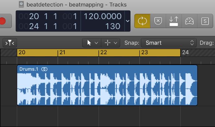 Logic Pro X: Match the tempo to an audio region