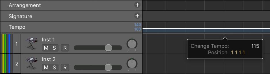 Logic Pro X: Set the project tempo