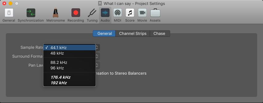 Sample Rate Menu In The Audio Project Settings Pane