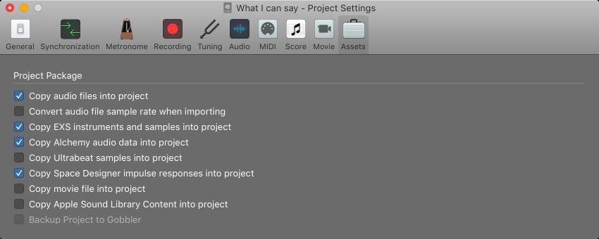 Logic Pro X: Manage project assets