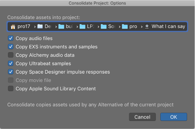 Consolidating files logic pro
