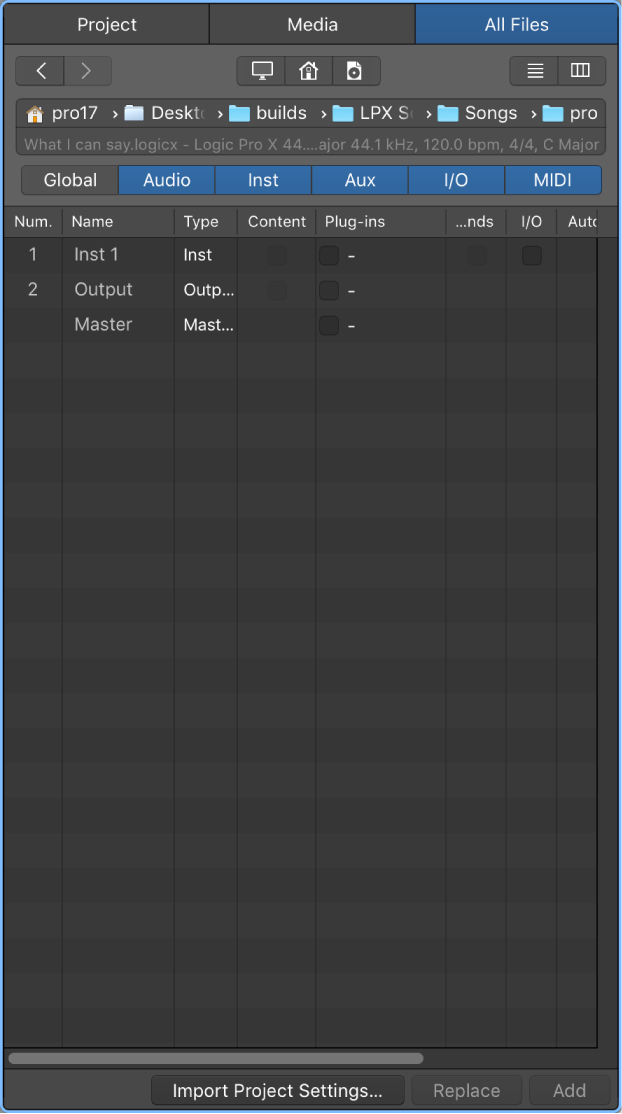 Logic Pro X: Import data and settings from other projects