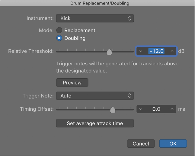 Logic Pro X: Replace or double drum sounds in the Tracks area