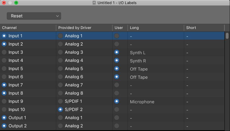 Logic Pro X: Use the I/O Labels window