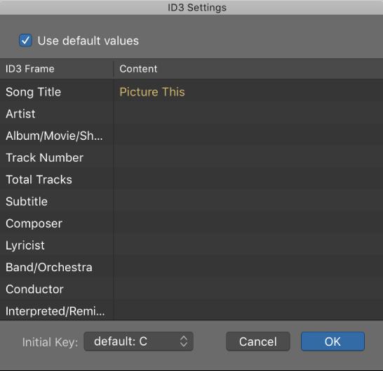 Logic Pro X: MP3 bounce options