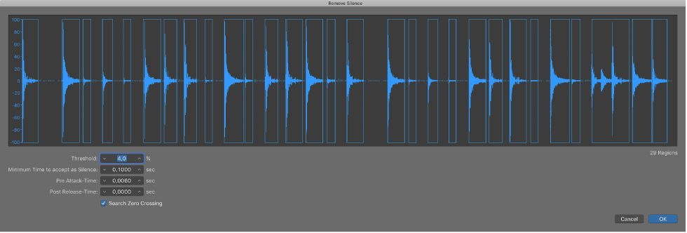 Logic Pro X: Remove silent passages in the Remove Silence Window