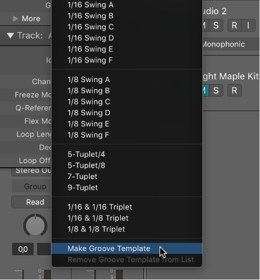 Logic pro x create groove templates make groove template selected in the quantize pop up menu maxwellsz