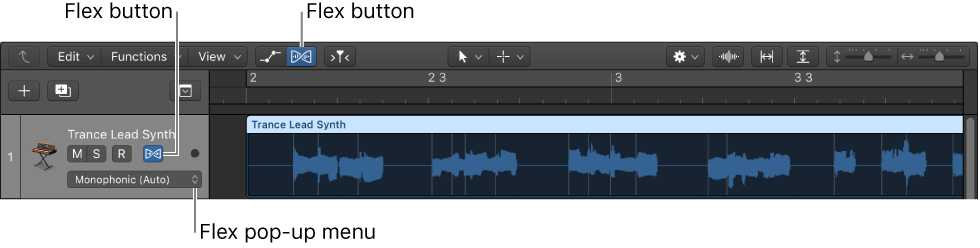 Figure. Flex button and Flex pop-up menu in an audio track header.