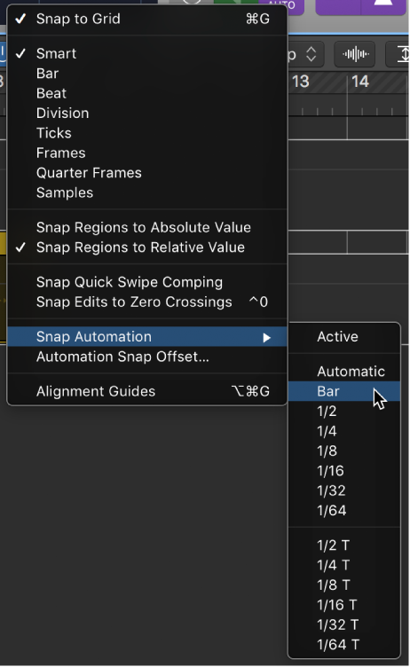 Logic Pro X: Snap automation to grid positions