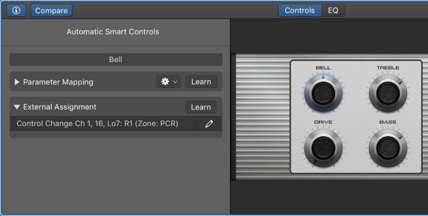 Logic Pro X: Assign hardware controls to screen controls
