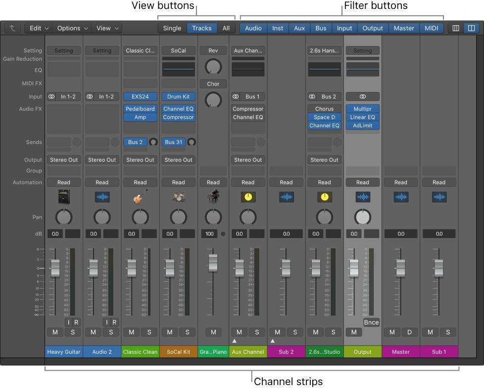 Logic Pro X: Mixer interface