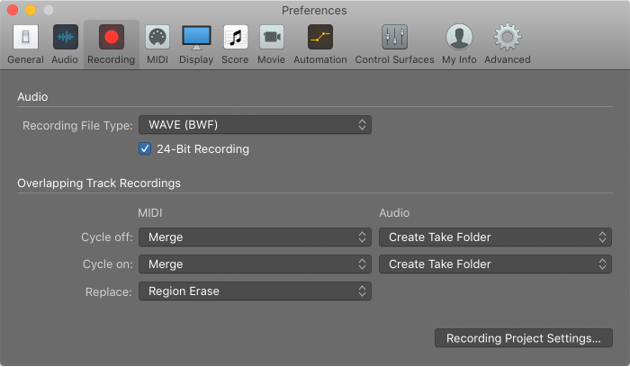 Logic Pro X: Recording preferences
