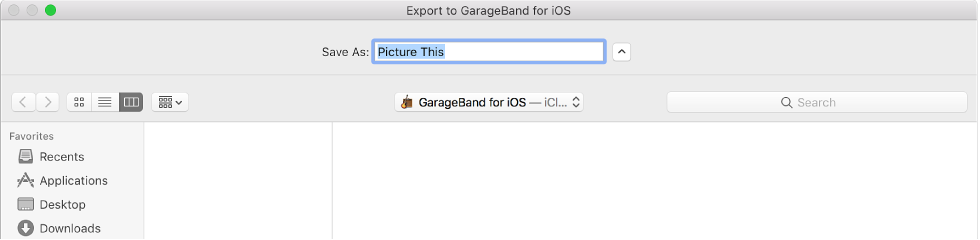Figure. Export to GarageBand for iOS.