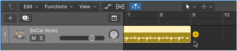 Figure. Click the Add (+) button to create a new Drummer region.