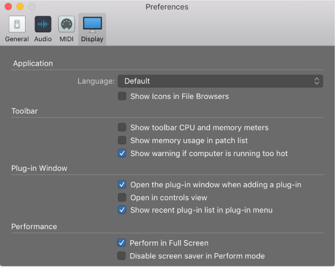 MainStage: Display preferences