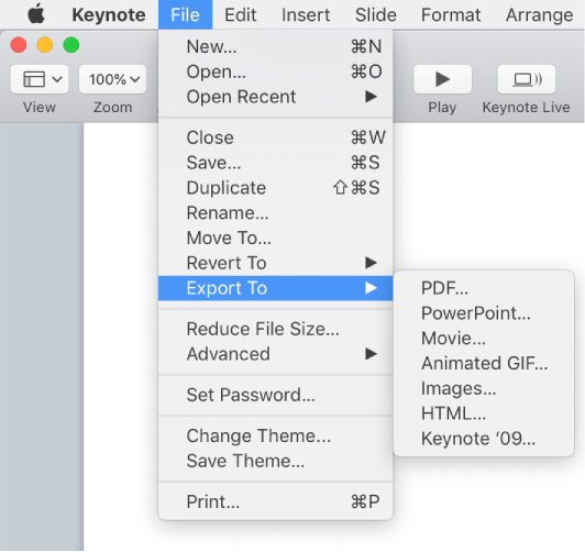 Keynote for Mac: Export a Keynote presentation to PowerPoint or