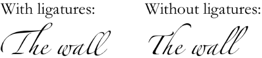 Text with and without ligatures.