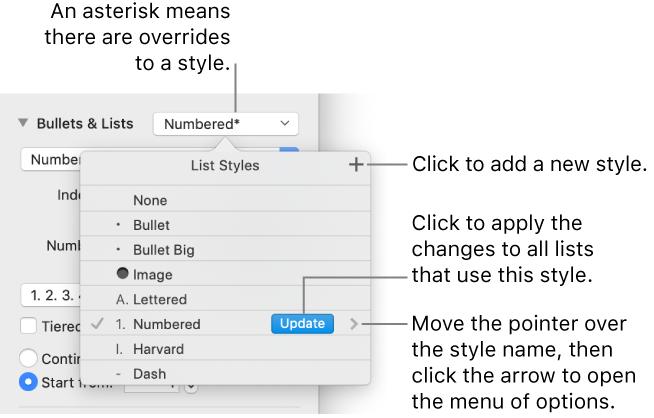 Keynote for Mac: Format lists in a Keynote presentation