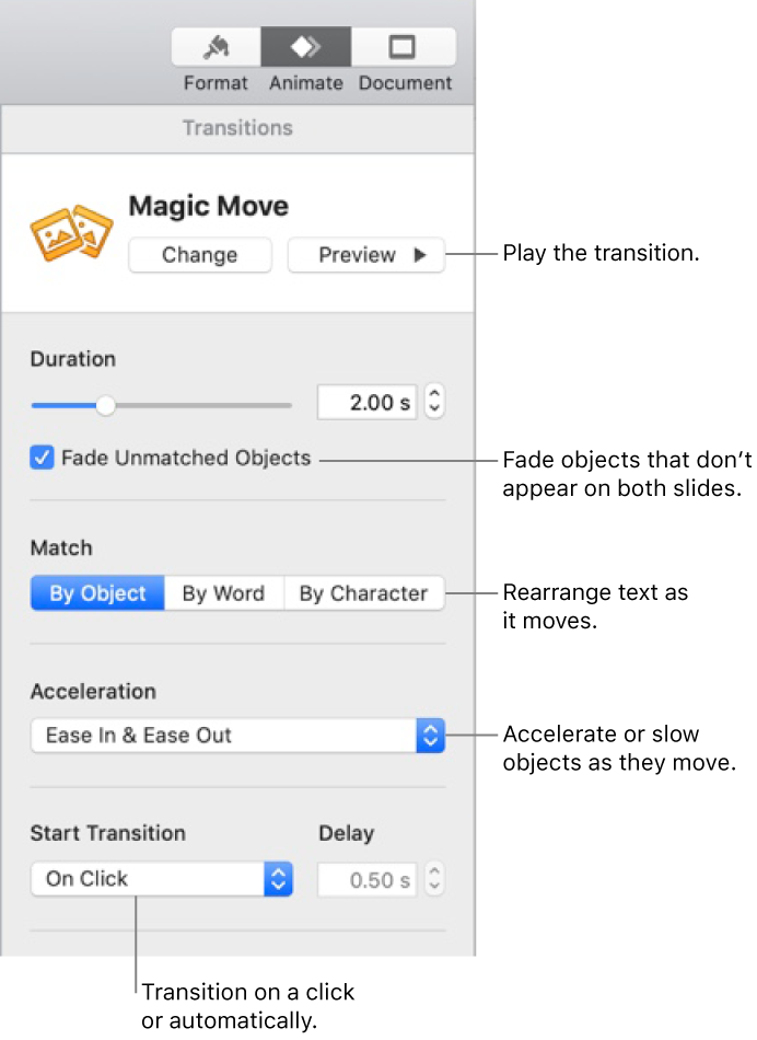 Magic Move transition controls in the Transitions section of the Animate sidebar.