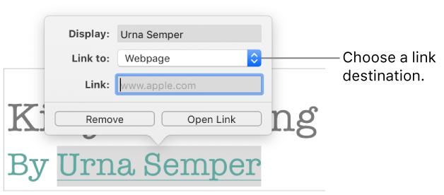 Pages for Mac: Link to a webpage, email, or page in a Pages document