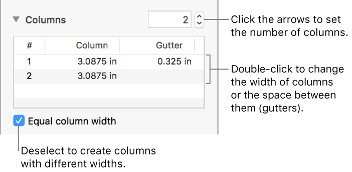 Pages for Mac: Format columns of text in a Pages document