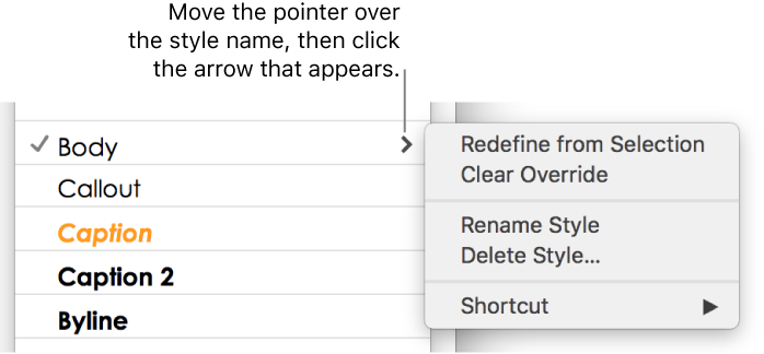 Pages for Mac: Create, rename, or delete paragraph styles in