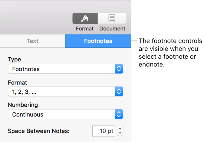 Pages for mac add footnotes and endnotes in a pages document the footnotes pane showing pop up menus for type format numbering and ccuart Image collections