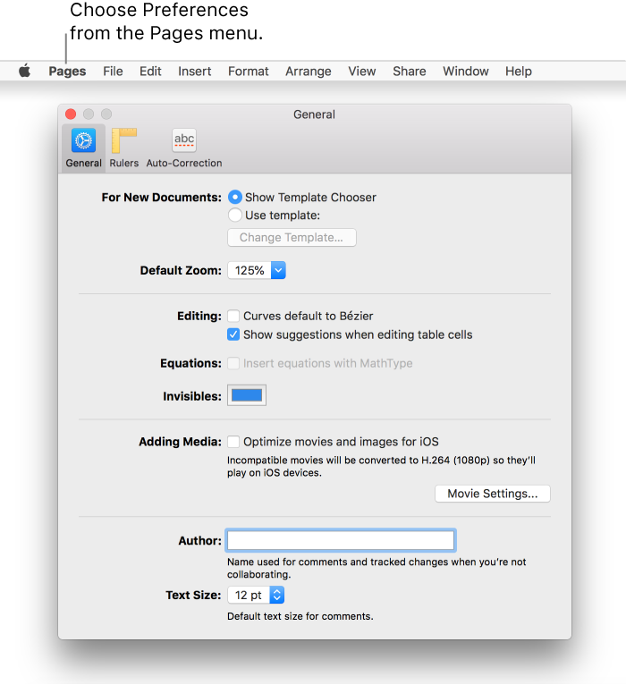 Pages for Mac: Set Pages preferences