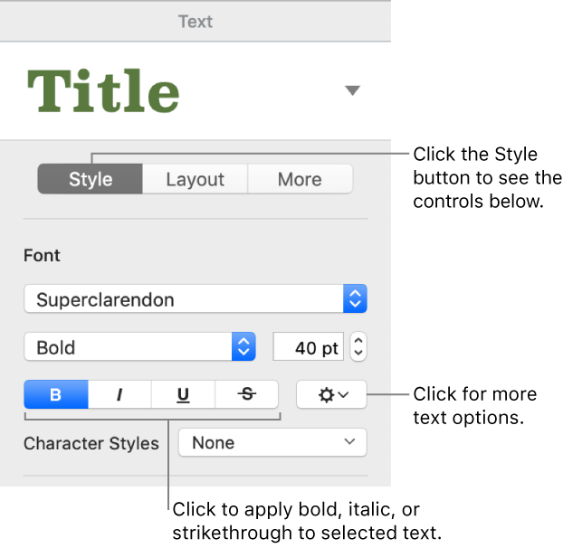 Pages for Mac: Add bold, italic, underline, or strikethrough