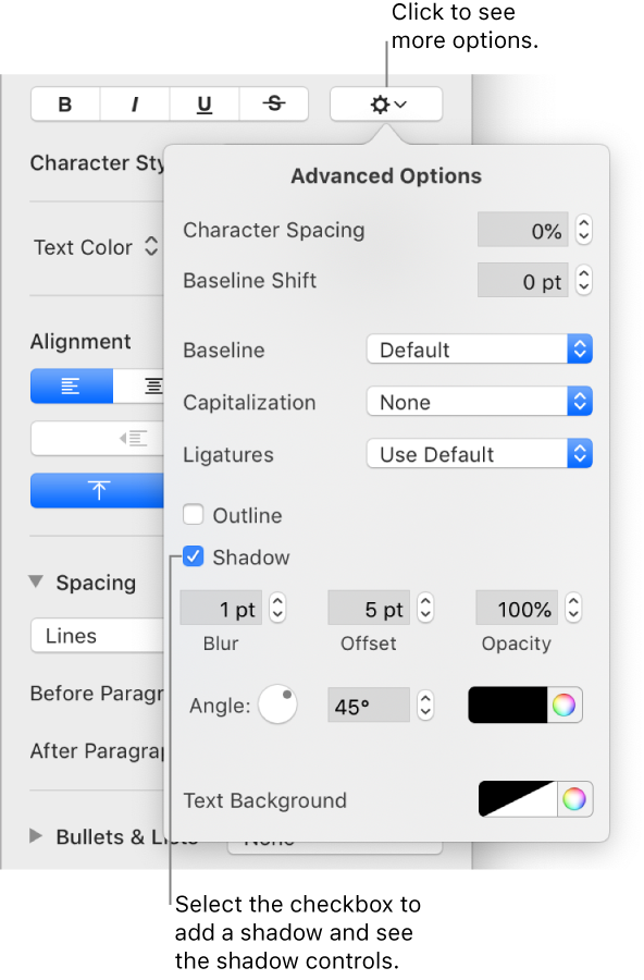 Pages for mac add a shadow or outline to text in a pages document the advanced options menu open with the shadows checkbox selected and controls for setting blur publicscrutiny Image collections