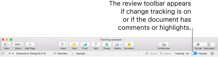 Pages for Mac: Track changes in a Pages document