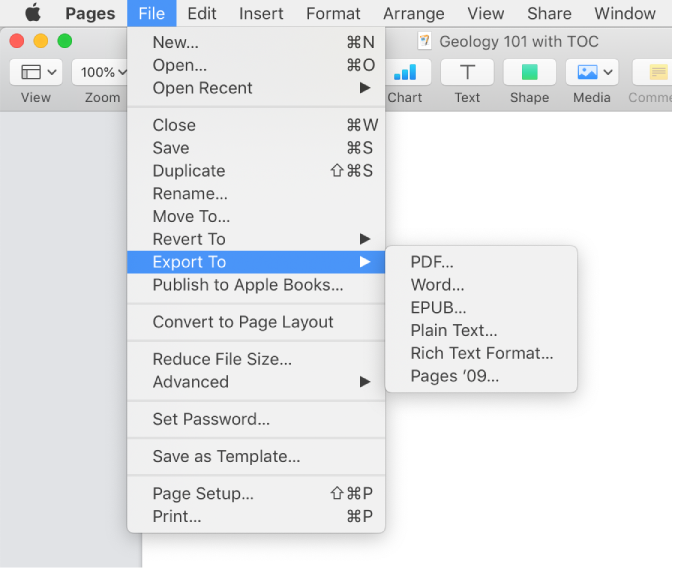 The File menu open with Export To selected, with its submenu showing export options for PDF, Word, Plain Text, ePub, and Pages '09