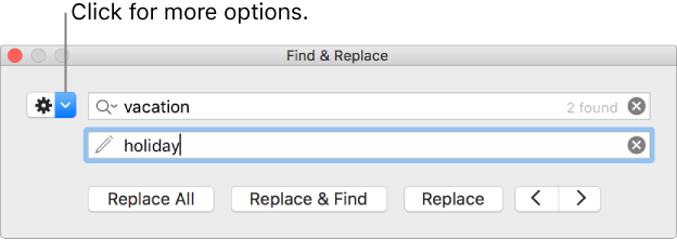 The Find & Replace window with a callout to the button to show more options