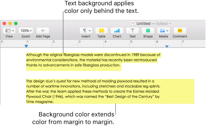 Pages for Mac: Add a highlight effect to text in a Pages