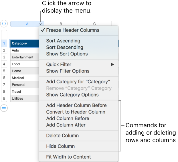Numbers for Mac: Add and change rows and columns in a Numbers