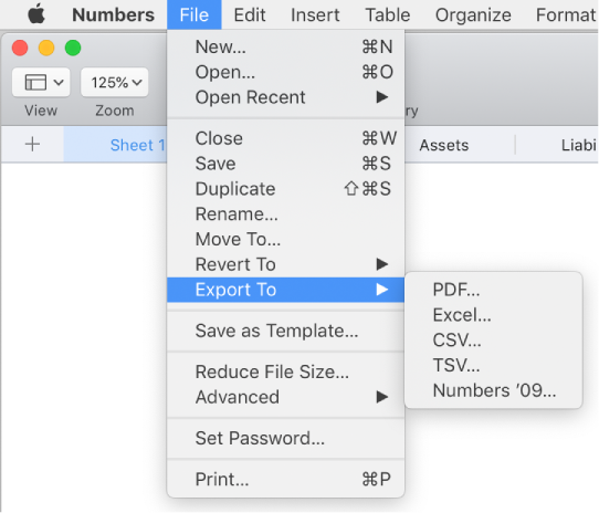 Numbers for Mac: Export a Numbers spreadsheet to Excel or