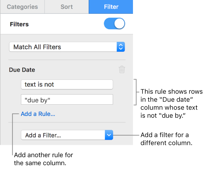 Numbers for Mac: Filter data in Numbers