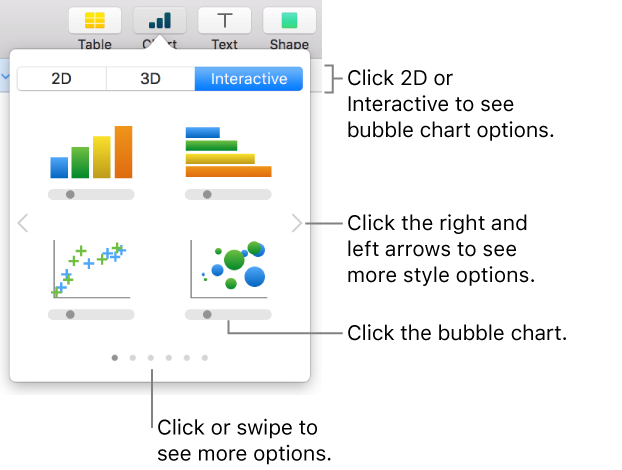 Numbers for Mac: Create scatter charts and bubble charts in a