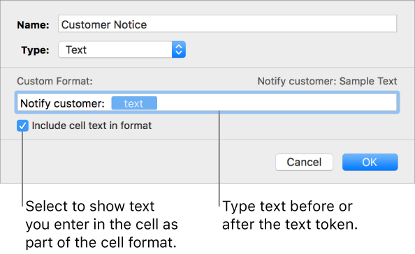 Numbers for Mac: Create a custom cell format in Numbers