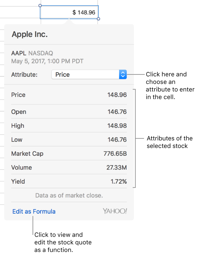 Apple Stock Quote Numbers For Mac Add Stock Information To A Numbers Table