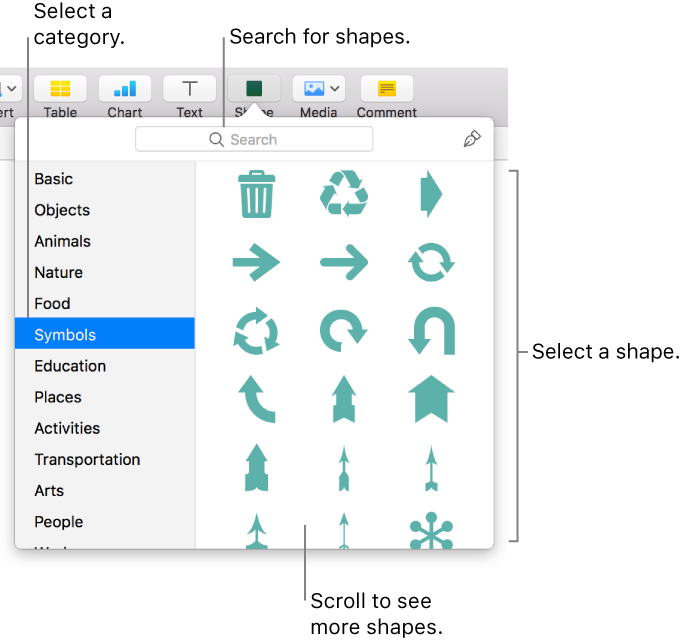 Numbers For Mac Add And Edit Shapes In Numbers