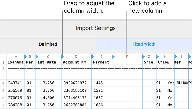 Numbers for Mac: Import an Excel or text file