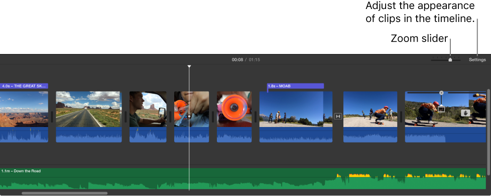 Timeline showing Zoom slider, Settings button, video clips with blue waveforms, and audio clips with green waveforms