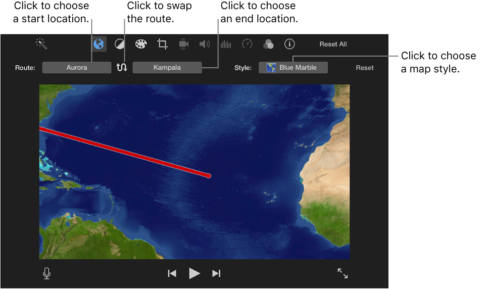 Imovie for mac add animated travel maps and backgrounds animated travel map controls above viewer for setting start and end location swapping route direction gumiabroncs Choice Image