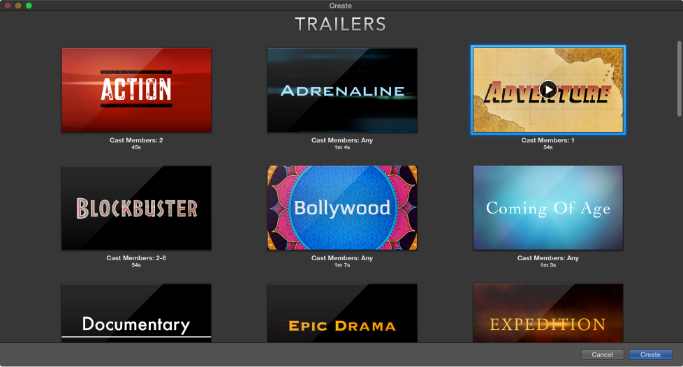 create window showing trailer previews
