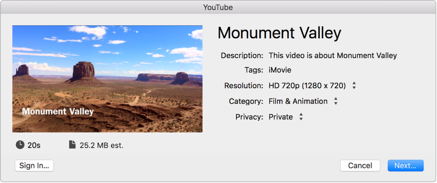 iMovie for Mac: Share online