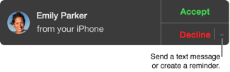 In the incoming call window, click the pop-up menu next to Decline to send a text message or create a reminder