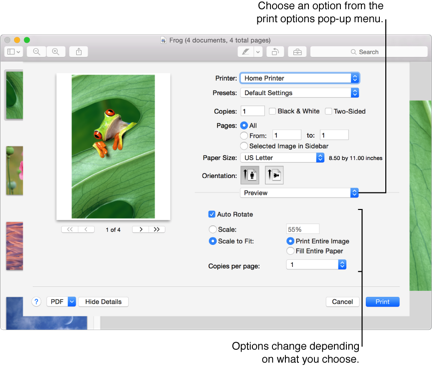 OS X Yosemite: Choose advanced print settings
